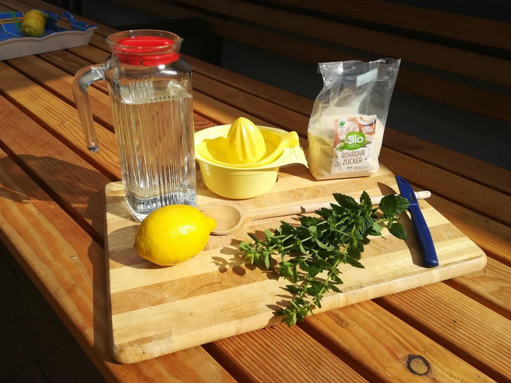 Zutaten für Zitronen-Kräuter-Limo auf einem Gartentisch