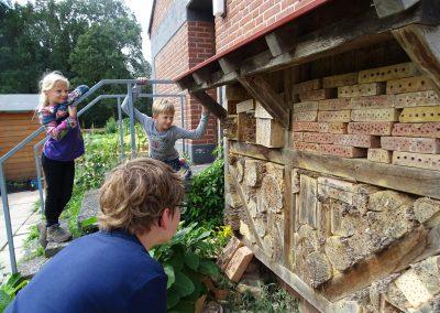Drei Kinder beobachten Wildbienen an einer großen Nisthilfe