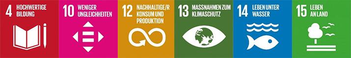 Eine Fotoleiste mit den SDGs 4, 10, 12, 13, 14, 15